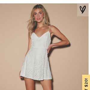 Lulu's Magnolia Blossom White Lace Skater Dress